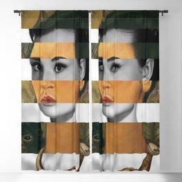 Self Portrait with Monkey & Audrey Hepburn Blackout Curtain