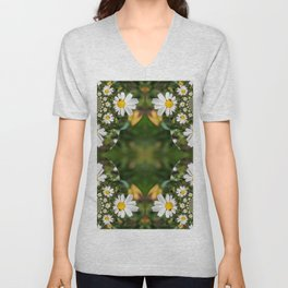 Magic Field Summer Grass - Chamomile Flower with Bug - Polarity #1 Unisex V-Neck