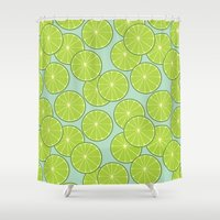 lime green Shower Curtains featuring lime by Tanya Pligina