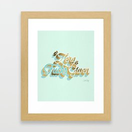 Zero F*cks Given – Powder Blue & Gold Palette Framed Art Print