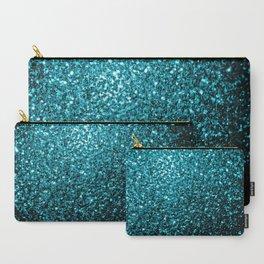 Beautiful Aqua blue glitter sparkles Carry-All Pouch