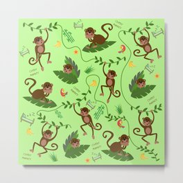 jumping cheeky monkeys green 05 Metal Print