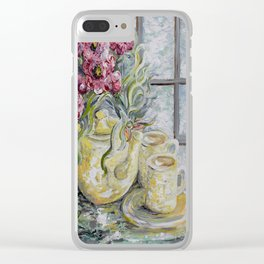 Morning Tea for Two Clear iPhone Case