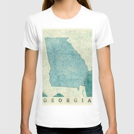 Georgia Map Blue Vintage T-shirt