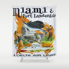 Vintage poster - Miami and Fort Lauderdale Shower Curtain