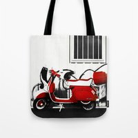 vespa Tote Bags featuring Vespa by absoluca