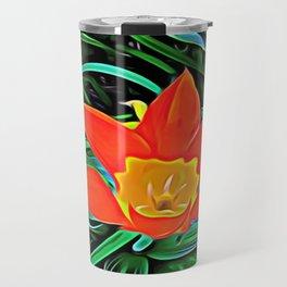 Flower of Enchanted Orange Flow Travel Mug