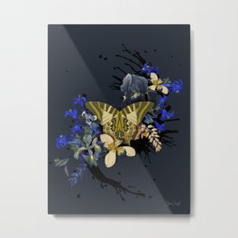 Blue Butterfly Vintage Black Jungle Metal Print