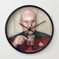 picard Wall Clocks featuring Captain Picard Earl Grey Tea | Star Trek Painting by Olechka