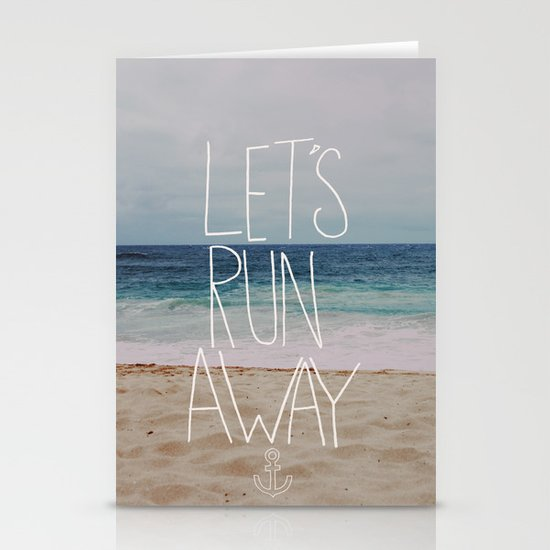 Let's Run Away: Sandy Beach, Hawaii Stationery Cards
