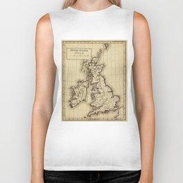Vintage Map of The British Isles (1850) Biker Tank