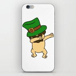Dabbing St Patrick_s Day Pug Dog Leprechaun iPhone Skin