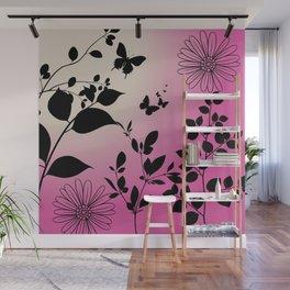 Butterflies & Flowers Wall Mural