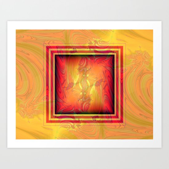 Vintage pattern orange red Art Print