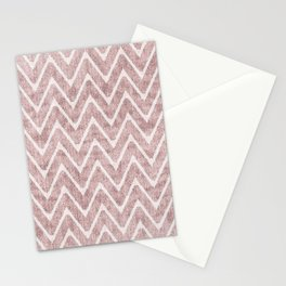 Palest Dusty Pink Zigzag Imitation Suede Chevron Stationery Cards