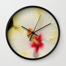 Stamen With Yellow Hibiscus Petal Background  Wall Clock