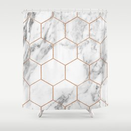 Rose gold marble hexagons honeycomb pattern Shower Curtain