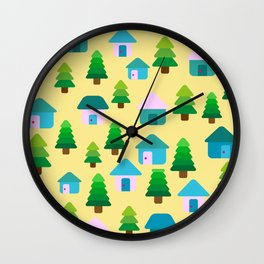 Home in Sunny Yellow Wall Clock