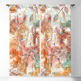 Watercolor autum foliage Blackout Curtain