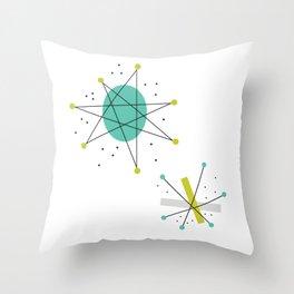 Teal Mid Century Modern Atomic Age Pattern Throw Pillow