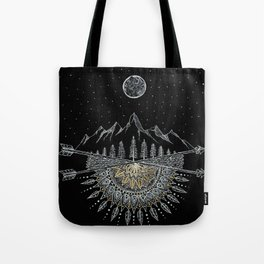 Moon and Stars Night Sky Mountain Range Arrow Mandala Tote Bag