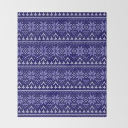Knitted Christmas pattern in blue Throw Blanket