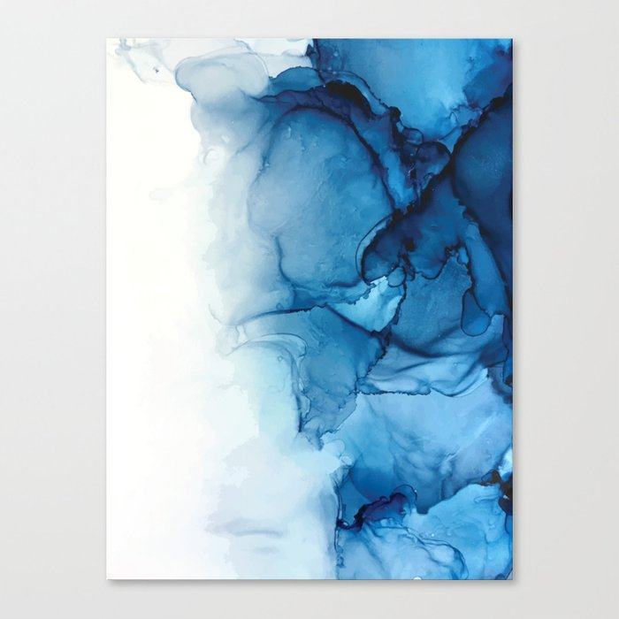 Blue Tides Alcohol Ink Painting Canvas Print By