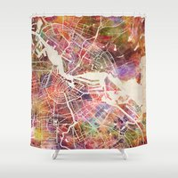 amsterdam Shower Curtains featuring Amsterdam by MapMapMaps.Watercolors