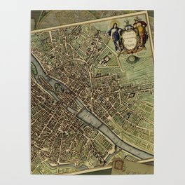 Old Paris Map and other manuscripts Poster