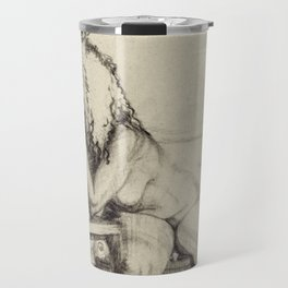 'The Unwinding' Charcoal Drawing Nude woman drinking Wine Travel Mug