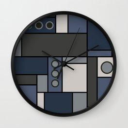 Blocked in Steely Blue Wall Clock