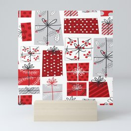 seamless christmas gift pattern Mini Art Print