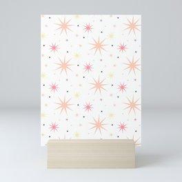 Shinny Stars pattern pink yellow Mini Art Print