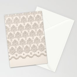 """Damask """"Cafe au Lait"""" Chenille with Lacy Edge Stationery Cards"""