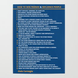 Dale Carnegie How to Win Friends and Influence People Quote Poster Poster