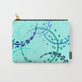 Pastel curls and circles of blue shades on the azure background. Carry-All Pouch