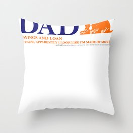Dad Bank Funny Father Money Gift Logo Throw Pillow