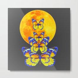 SURREAL BLUE BUTTERFLIES RISING GOLDEN MOON Metal Print