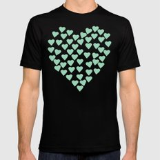 Hearts Heart White on Mint Black Mens Fitted Tee MEDIUM