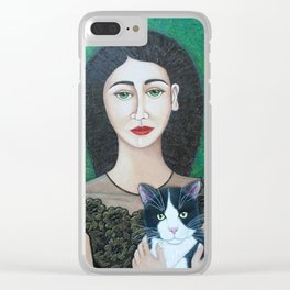 Woman with cat soul Clear iPhone Case
