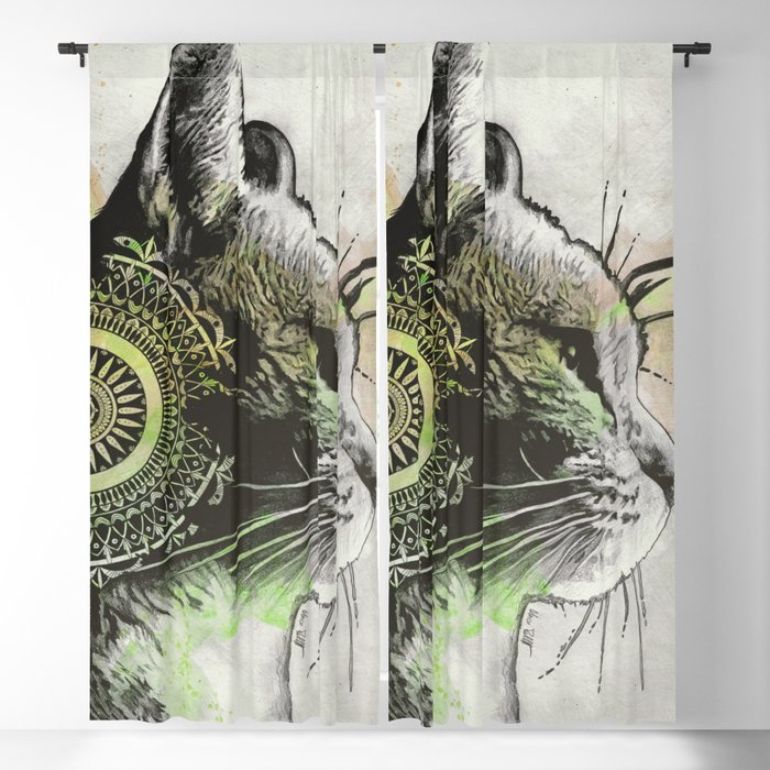 Tides Of Tomorrow: Lime (mandala tabby cat portrait) Blackout Curtain