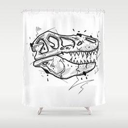 T-Rex Skull Handmade Drawing, Made in pencil and ink, Tattoo Sketch, Tattoo Flash, Blackwork Shower Curtain