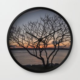 Sunset tree Niles Beach Wall Clock