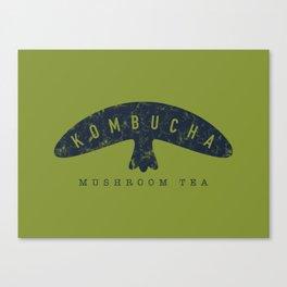 Kombucha Mushroom Tea // Moss Green and Blue Abstract Graphic Design Artwork Canvas Print