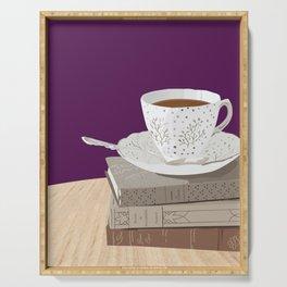 Teacup, Jane Austen, & Charlotte Brontë Books Serving Tray
