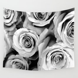 Black and White Roses Wall Tapestry