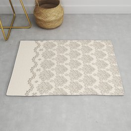 """Damask """"Cafe au Lait"""" Chenille with Lacy Edge Rug"""