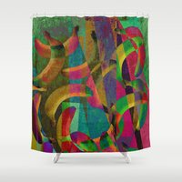 picasso Shower Curtains featuring banana picasso by laura lombardo