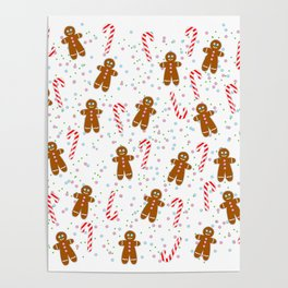 Gingerbread man wishes you Merry Xmas! - White Poster