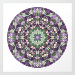 Fractal Ribbon Mandala in Purple, Green, Pink and Yellow Art Print